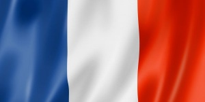 France flag, three dimensional render, satin texture